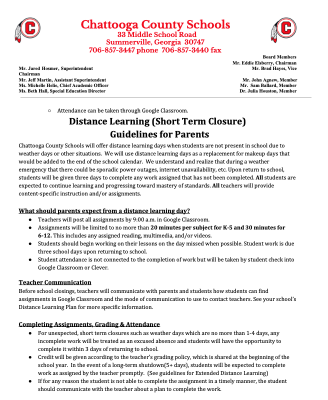 Distance Learning Guidelines for Parents
